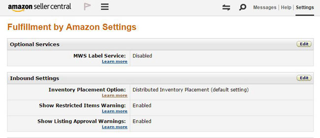 Amazon FBA Settings Screen