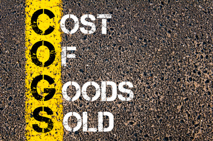 Business Acronym COGS – Cost of Goods Sold. Yellow paint line on the road against asphalt background. Conceptual image
