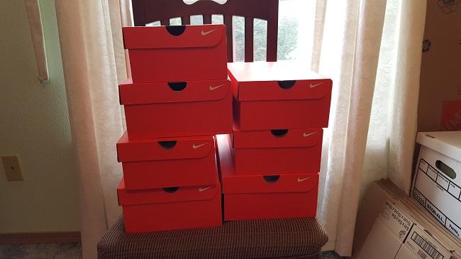 Recent retail arbitrage shoe purchases.