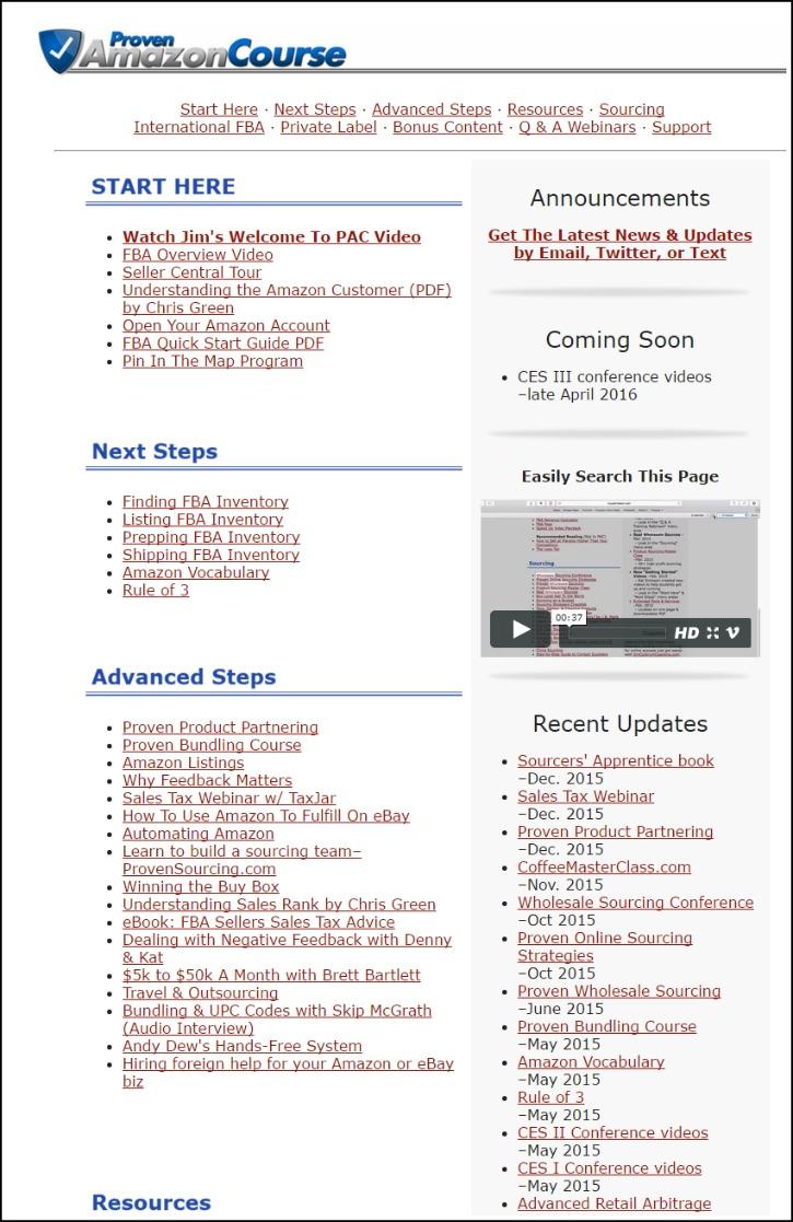 Proven Amazon Course Membership Screen