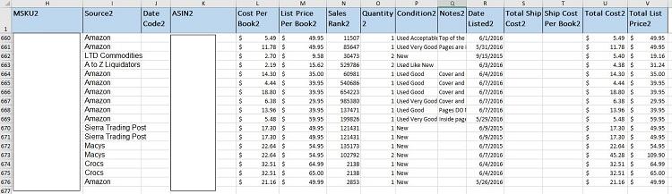 Tracking Spreadsheet Listing