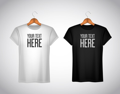 Men black and white T-shirt. Realistic mockup whit brand text fo