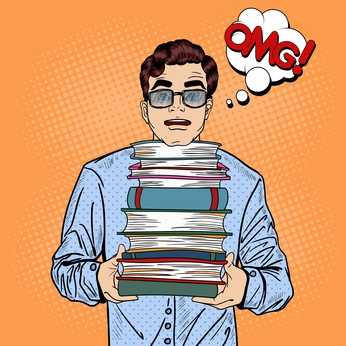 Pop Art Man Student Holding Stack of Books Education Concept. Vector illustration